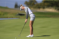 Nelly Korda (USA) putts on the 5th green during Thursday's Round 1 of The Evian Championship 2018, held at the Evian Resort Golf Club, Evian-les-Bains, France. 13th September 2018.<br /> Picture: Eoin Clarke | Golffile<br /> <br /> <br /> All photos usage must carry mandatory copyright credit (© Golffile | Eoin Clarke)