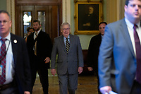 United States Senate Majority Leader Mitch McConnell (Republican of Kentucky) walks to his office as he arrives at the United States Capitol in Washington D.C., U.S., on Thursday, January 9, 2020.<br /> <br /> Credit: Stefani Reynolds / CNP/AdMedia