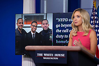 White House Press Secretary Kayleigh McEnany provides examples of good deeds done by police officers during a news conference in the James S. Brady Press Briefing Room at the White House in Washington D.C., U.S., on Monday, June 8, 2020.  McEnany stated that United States President Donald J. Trump is against defunding police departments, after the death of George Floyd while in police custody has pushed cities across the United States to consider doing so.  Credit: Stefani Reynolds / CNP/AdMedia