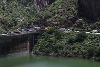 vista panoramica de la presa la Angostura, durante la   Madrean Diversity Expeditions con la Comisiòn Nacional de Areas Naturales Protegidas, CONANP, en la Sierra del <br /> Tigre.Municipio de Nacozari ,Sonora, Mexico.<br /> <br /> CreditoFoto:LuisGutierrez