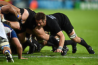 Richie McCaw of New Zealand in action at a scrum. Rugby World Cup Pool C match between New Zealand and Namibia on September 24, 2015 at The Stadium, Queen Elizabeth Olympic Park in London, England. Photo by: Patrick Khachfe / Onside Images