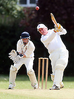 D Lock in batting action for Noak Hill as M Gooch looks on from behind the stumps - Hornchurch Athletic CC 3rd XI vs Noak Hill Taverners CC - Lords International Essex Cricket League at Hylands Park - 27/06/09- MANDATORY CREDIT: Gavin Ellis/TGSPHOTO - Self billing applies where appropriate - 0845 094 6026 - contact@tgsphoto.co.uk - NO UNPAID USE.