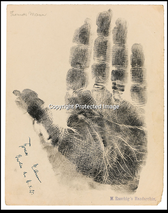 BNPS.co.uk (01202) 558833.Picture: collect..The handprint of Thomas Mann, writer..An incredible collection of signed handprints of famous names from 1920s Germany including Albert Einstein and Marlene Deitrich has come to light. Prints of composers Richard Strauss and Igor Stravinsky, filmmaker Fritz Lang, painter Max Liebermann, playwright Bertolt Brecht and gay rights pioneer Magnus Hirschfeld also feature in the fascinating set by German palmist Marianne Raschig. ..She spent 60 years taking more than 2,000 handprints of around 1,000 leading artists, actors, scientists, musicians and writers in Berlin. Raschig collected the handprints between the 1870s and 1930s for a study into what the lines and shapes of hands could reveal about a person's character. Her collection is now set to sell for more than £90,000 at auction.