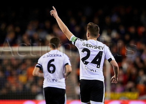 06.03.2016. Mestalla Stadium, Valencia, Spain. La Liga match between Valencia versus Atletico Madrid. Midfielder Denis Cheryshev (R) of Valencia CF celebrates after scoring the first goal for his team