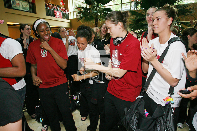 SAN ANTONIO, TX - APRIL 4:  Nnemkadi Ogwumike, Rosalyn Gold-Onwude, Michelle Harrison and Jeanette Pohlen at a rally before Stanford's 73-66 win over Oklahoma in the Final Four semi-finals at the Alamo Dome on April 4, 2010 in San Antonio, Texas.