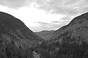 Rugged Crawford Notch as seen from near Crawford Station rendered B+W.