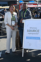 LAS VEGAS, NV - JANUARY 10:  Mayor of Flint Michigan, Karen Weaver and Wasalu Jaco professionally known as Lupe Fiasco speaks at the Zero Mass Water Booth during CES 2019 in Las Vegas, Nevada on January 10, 209.   <br /> CAP/MPI/DAM<br /> ©DAM/MPI/Capital Pictures