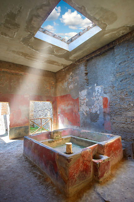 Fullery of Stephanus on the Via del Abbondante, Pompeii. Fulleries were an important business in ancient Pompeii.  Fullers processed, dyed, and washed cloth.