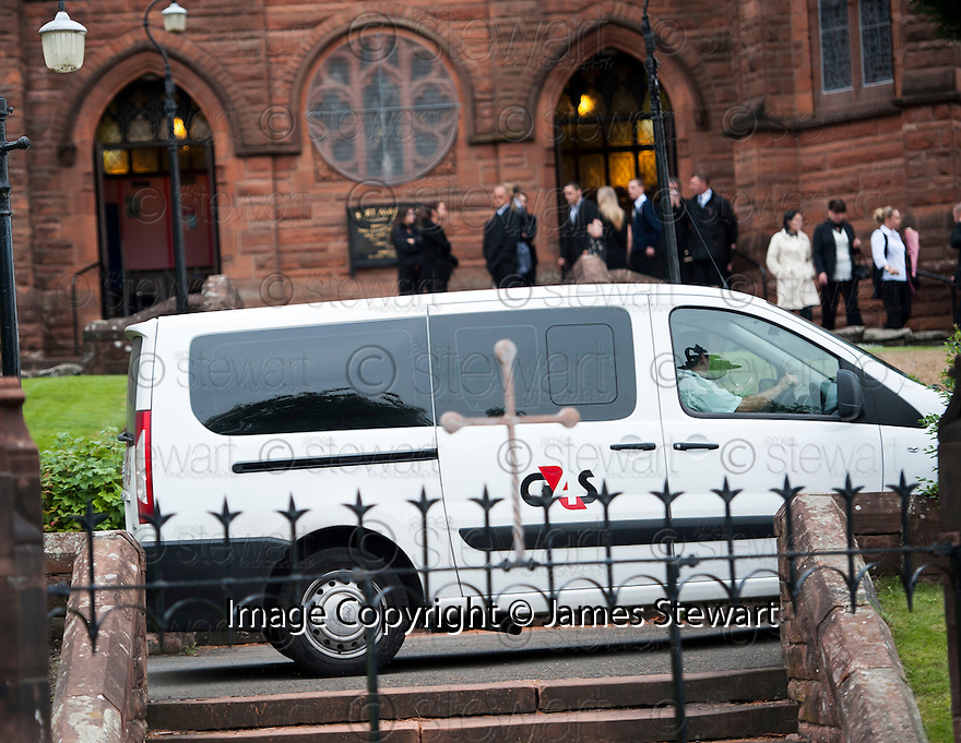 A G4S van arrives at the funeral of former crime family matriarch Mags Haney arrives at St Mary's RC Church in Stirling.