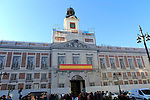 Architectural building wrap screening rebuilding work, Real Casa de Correos, Plaza de la Puerta del Sol, Madrid, Spain