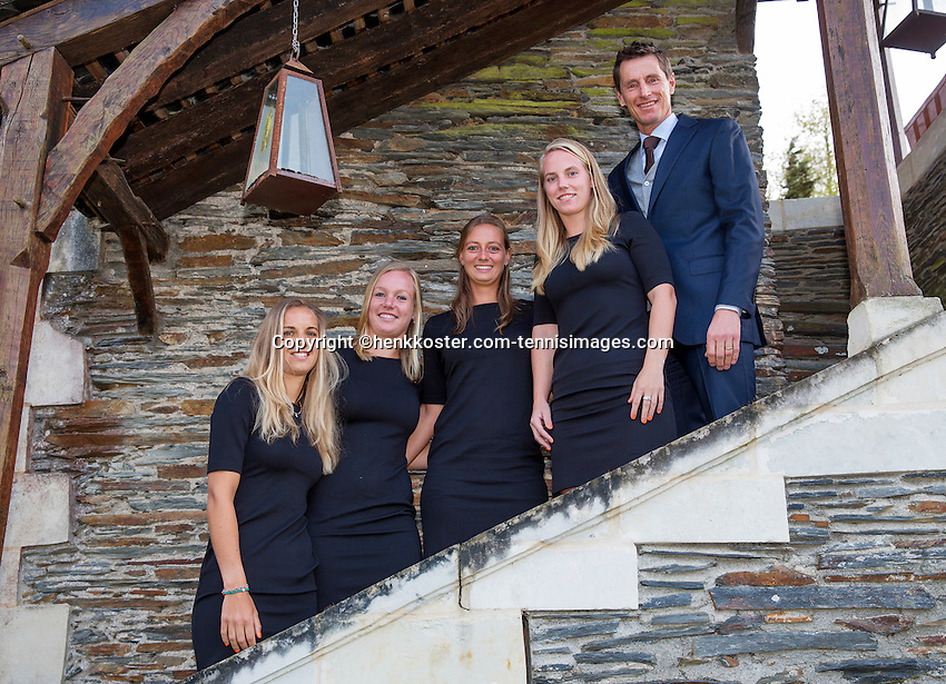 Arena Loire,  Trélazé,  France, 14 April, 2016, Semifinal FedCup, France-Netherlands, Official Diner,  Dutch team, Ltr: , Arantxa Rus, Kiki Bertens, Cindy Burger, Richel Hogenkamp and captain Paul Haarhuis.<br /> Photo: Henk Koster/Tennisimages