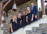Arena Loire,  Tr&eacute;laz&eacute;,  France, 14 April, 2016, Semifinal FedCup, France-Netherlands, Official Diner,  Dutch team, Ltr: , Arantxa Rus, Kiki Bertens, Cindy Burger, Richel Hogenkamp and captain Paul Haarhuis.<br /> Photo: Henk Koster/Tennisimages