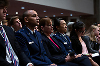 United States Army Colonel Kathryn Spletstoser, center, who has said she was sexually assaulted by US Air Force General John E. Hyten, listens to the testimony before the US Senate Committee on Armed Services during his confirmation hearing on Capitol Hill in Washington D.C., U.S. on July 30, 2019. Credit: Stefani Reynolds/CNP/AdMedia