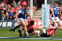 Max Lahiff of Bath Rugby in possession. Gallagher Premiership match, between Gloucester Rugby and Bath Rugby on April 13, 2019 at Kingsholm Stadium in Gloucester, England. Photo by: Patrick Khachfe / Onside Images