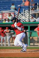 Batavia Muckdogs Albert Guaimaro (13) bats during a NY-Penn League game against the Auburn Doubledays on June 18, 2019 at Dwyer Stadium in Batavia, New York.  Batavia defeated Auburn 7-5.  (Mike Janes/Four Seam Images)