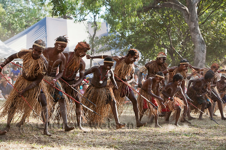 Lockhart River dance troupe at the Laura Aboriginal Dance Festival.  Laura, Queensland, Australia