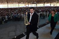SAO PAULO, SP, 29.09.2013 – MISSA EM HOMENAGEM A HEBE CAMARGO: Filho de Hebe Camargo , Marcello de Camargo (d)  esteve presente na missa de 1 ano da morte da apresentadora Hebe Camargo, celebrada na manhã deste domingo (29) pelo Padre Marcelo Rossi, no Santuário Mãe de Deus, em Interlagos, zona sul de São Paulo. FOTO: LEVI BIANCO - BRAZIL PHOTO PRESS