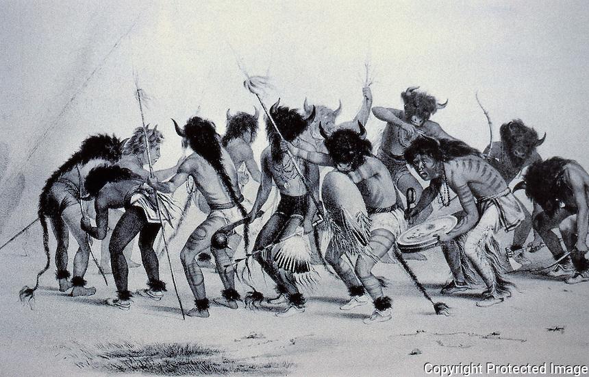 George Catlin, Mandan Buffalo Dance. Lithograph 1844.