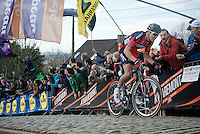 Greg Van Avermaet (BEL/BMC) charging up the cobbles of the Paterberg<br /> <br /> 99th Ronde van Vlaanderen 2015