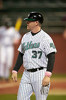 Stetson Hatters assistant coach Mark Leavitt (37) during a game against the Siena Saints on February 23, 2016 at Melching Field at Conrad Park in DeLand, Florida.  Stetson defeated Siena 5-3.  (Mike Janes/Four Seam Images)