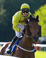 Gold Hunter ridden by Charles Bishop goes down to the start of The Sharp's Doom Bar Handicap during Evening Racing at Salisbury Racecourse on 25th May 2019
