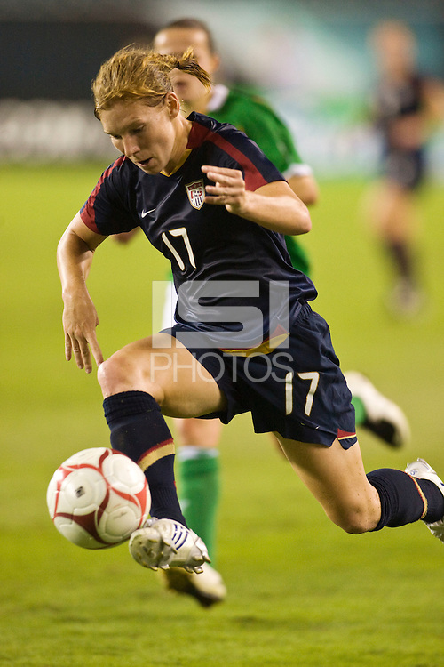 United States (USA) defender Lori Chalupny (17). The United States Women's National Team (USA) defeated the Republic of Ireland (IRL) 2-0 during an international friendly at Lincoln Financial Field in Philadelphia, PA, on September 13, 2008.