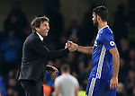Chelsea's Antonio Conte celebrates with Diego Costa at the final whistle during the Premier League match at Stamford Bridge Stadium, London. Picture date December 31st, 2016 Pic David Klein/Sportimage