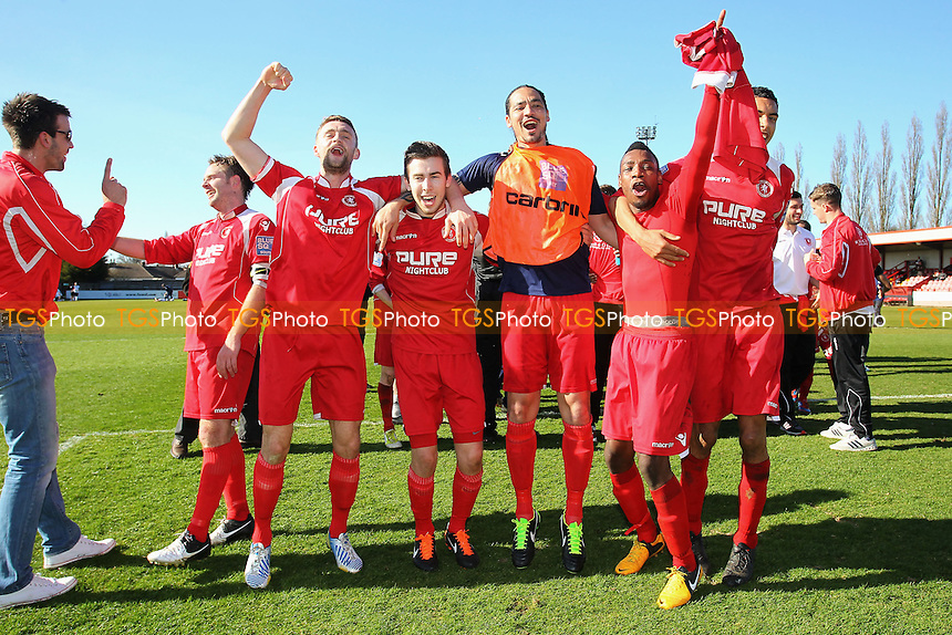 Welling United players celebrate at the final whistle - Boreham Wood vs Welling United - Blue Square Conference South Football at Meadow Park - 20/04/13 - MANDATORY CREDIT: Gavin Ellis/TGSPHOTO - Self billing applies where appropriate - 0845 094 6026 - contact@tgsphoto.co.uk - NO UNPAID USE.
