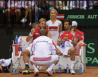 14-sept.-2013,Netherlands, Groningen,  Martini Plaza, Tennis, DavisCup Netherlands-Austria, Doubles,   Austrian bench<br /> Photo: Henk Koster