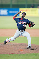Hagerstown Suns relief pitcher Deion Williams (38) in action against the Kannapolis Intimidators at CMC-Northeast Stadium on July 19, 2015 in Kannapolis, North Carolina.  The Suns defeated the Intimidators 9-4.  (Brian Westerholt/Four Seam Images)