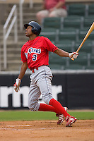 D'Arby Myers #3 of the Lakewood BlueClaws follows through on his swing versus the Kannapolis Intimidators at Fieldcrest Cannon Stadium July 8, 2009 in Kannapolis, North Carolina. (Photo by Brian Westerholt / Four Seam Images)
