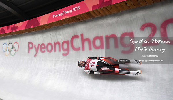 Sam Edney (CAN). Mens luge. Pyeongchang2018 winter Olympics. Alpensia sliding centre. Alpensia. Gangneung. Republic of Korea. 11/02/2018. ~ MANDATORY CREDIT Garry Bowden/SIPPA - NO UNAUTHORISED USE - +44 7837 394578