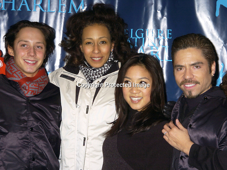 Ice Skating Stars, Johnny Wier, Tamara Tunie, Michelle Kwan and Rudy Galindo ..at The Figure Skating in Harlem Benefit on February 7,2005 at The Wollman Rink. ..Photo by Robin Platzer, Twin Images