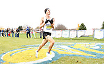 BROOKINGS, SD - OCTOBER 31:  Trent Lusignan from South Dakota State University crosses the finish line during the 2015 Summit League Cross Country Championships at Edgebrook Golf Course in Brookings. (Photo by Dave Eggen/Inertia)