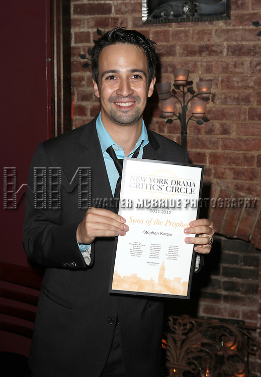 Lin-Manuel Miranda.attending the New York Drama Critics' Circle Awards at Angus McIndoe in New York City on 5/14/2012.