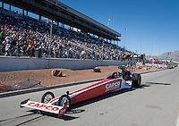 Mar 30, 2014; Las Vegas, NV, USA; NHRA top fuel driver Steve Torrence being towed on the return road during the Summitracing.com Nationals at The Strip at Las Vegas Motor Speedway. Mandatory Credit: Mark J. Rebilas-