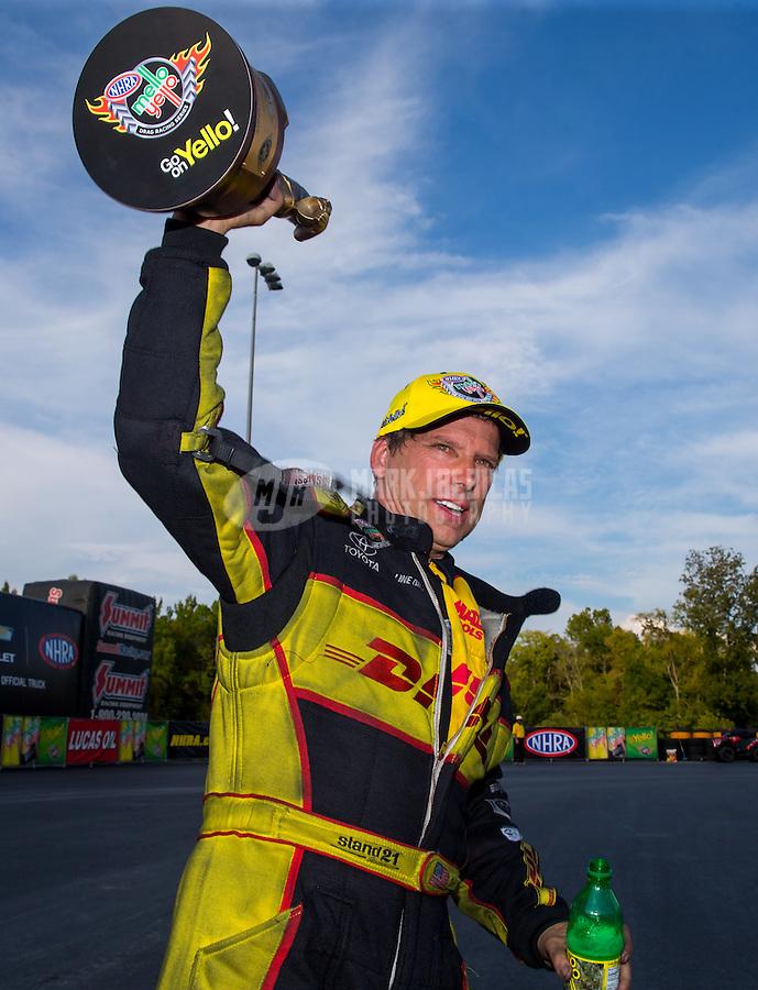 Sep 20, 2015; Concord, NC, USA; NHRA funny car driver Del Worsham celebrates after winning the Carolina Nationals at zMax Dragway. Mandatory Credit: Mark J. Rebilas-USA TODAY Sports