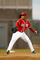Junior Morillo #36 of the AZL Reds pitches against the AZL Padres at the Cincinnati Reds Spring Training Complex on July 13, 2013 in Goodyear, Arizona. AZL Reds defeated the AZL Padres, 11-10. (Larry Goren/Four Seam Images)