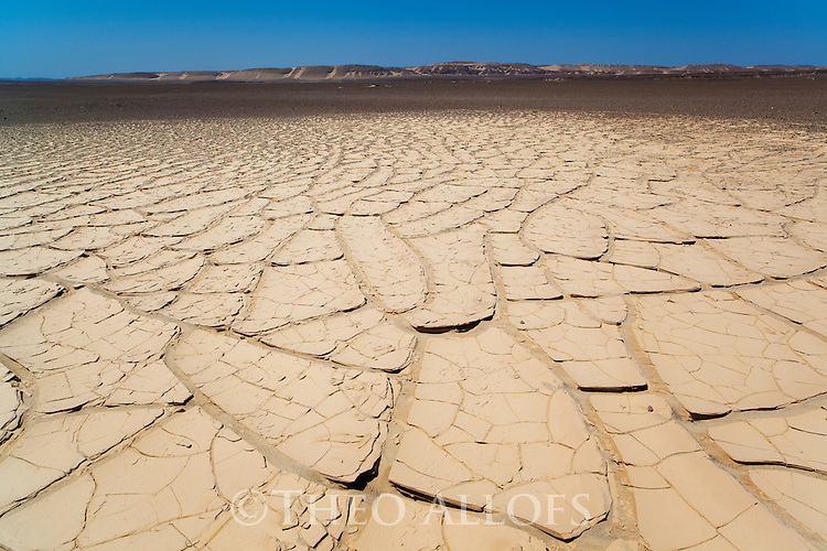 Namibia;  Namib Desert, Skeleton Coast, Skeleton Coast National Park, drought patterns in coastal mud plains