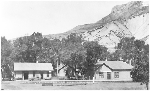Depot on left and eating house on right.  Looking west.<br /> D&amp;RGW  Cimarron, CO  Taken by Boring, Lucille