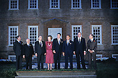 """Class photo"" of the G-7 leaders from the Economic Summit in the rear garden of Carter's Grove in Williamsburg, Virginia on May 28, 1983.  From left to right: President Gaston Thorn of the European Commission, Prime Minister Amintore Fanfani of Italy, President Francois Mitterrand of France, Prime Minister Margaret Thatcher of the United Kingdom, United States President Ronald Reagan, Prime Minister Yasuhiro Nakasone of Japan, Chancellor Helmut Kohl of West Germany, and Prime Minister Pierre Trudeau of Canada.<br /> Credit: Arnie Sachs / CNP"