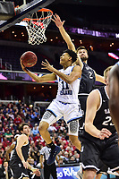 Washington, DC - MAR 11, 2018: Rhode Island Rams guard Jeff Dowtin (11) goes up for a lay up defended by Davidson Wildcats guard Jordan Watkins (2) during the Atlantic 10 men's basketball championship between Davidson and Rhode Island at the Capital One Arena in Washington, DC. (Photo by Phil Peters/Media Images International)