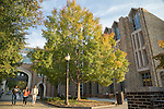 Students walk to and from class on a crisp, Fall day outside Perkins Library on Duke's West Campus.