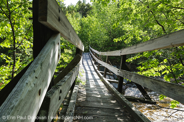 North Fork junction footbridge, which crosses the East Branch of the Pemigewasset River along the Thoreau Falls Trail in Pemigewasset Wilderness of Lincoln, New Hampshire. This bridge has a slight tilt to it.