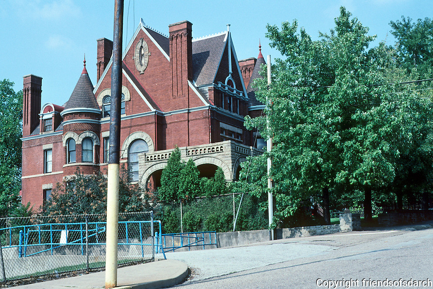 "Pittsburgh: Braddock, Charles M. Schwab House. Architect Frederick Osterling, 1889. A ""charming Queen Anne Hulk"".  Photo 2001.                       """