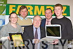 Deirdre Kelly, Dan O'Connor Caherciveen and Morgan O'Sullivan Killorglin  who won Lap Tops at the Farmbiz awards ceremony in the South Kerry Development building, Killorglin on Saturday evening l-r: Deirdre Kelly, Declan O'Connor, Patsy Cronin South Kerry Development Partnership, Emmet Spring South Kerry Partnership and Morgan O'Sullivan