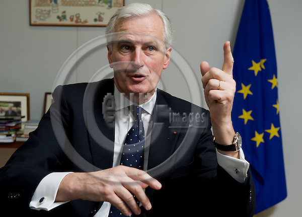 Brussels-Belgium - March 31, 2010 -- Michel BARNIER,  European Commissioner from France and in charge of Internal Market and Services, during an interview in his office -- Photo: Horst Wagner / eup-images
