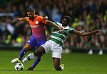 Sergio Aguero of Manchester City tackled by Kolo Toure of Celtic during the Champions League Group C match at the Celtic Park Stadium, Glasgow. Picture date: September 28th, 2016. Pic Simon Bellis/Sportimage