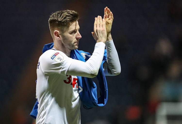 Preston North End's Paul Gallagher applauds the fans at the end of the match  <br /> <br /> Photographer Andrew Kearns/CameraSport<br /> <br /> The EFL Sky Bet Championship - Preston North End v Derby County - Friday 1st February 2019 - Deepdale Stadium - Preston<br /> <br /> World Copyright © 2019 CameraSport. All rights reserved. 43 Linden Ave. Countesthorpe. Leicester. England. LE8 5PG - Tel: +44 (0) 116 277 4147 - admin@camerasport.com - www.camerasport.com