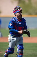 Chicago Cubs catcher Ali Solis (61) during a Minor League Spring Training game against the Oakland Athletics at Sloan Park on March 19, 2018 in Mesa, Arizona. (Zachary Lucy/Four Seam Images)